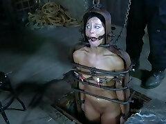 Strappado, claustrophobia and ejaculation predicament for captive girl.