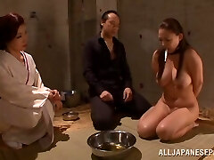 Big breasted Chinese AV model plays slave and gives a hot headfuck