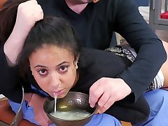 Hot dark-hued submissive girl disciplined with a bowl of cum