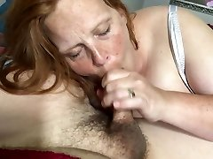 Wife deep-throats and swallows