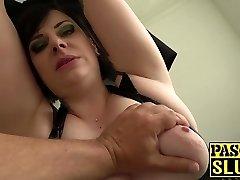 Chubby mature lady Elouise Lust deepthroat and harsh fuckfest