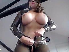 semitransparent latex catsuit_2 faux-cock and vibratir fuck