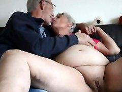 Fat elderly granny kissing