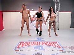 Jen Hexxx bites Racker's sack of babymakers in this bare wrestling match