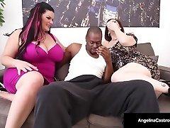 Cuban Bbw Angelina Castro & Sara Jay Deepthroat A Humungous Black Cock!