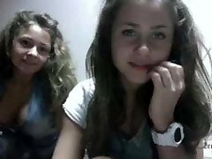 Two very sexy young  teens on web cam for the first time...