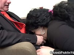 Ginger maid fucks with mature chief and his plump wife