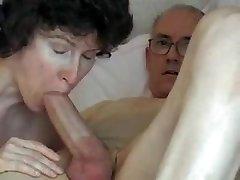 Grandpa's big manmeat, attractive mature swallows it