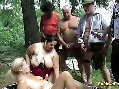 german outdoor orgy with plumper girls