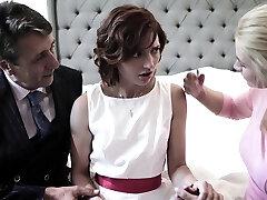 Pretty shy bride Elena Koshka has to blow strong fat man sausage damn great