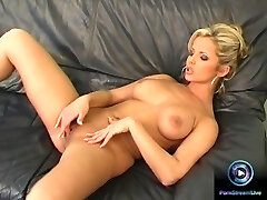 Danielle strips nude exposing her huge fun bags and fresh cunt