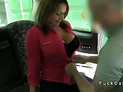 Chubby busty amateur anal banged in faux taxi in public