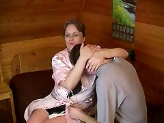 Old plump mom with saggy boobs & guy