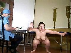 chubby bare woman medical examination