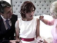 Pretty timid bride Elena Koshka has to suck strong fat cock damn great