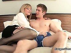 Amazing blond MILF slut with big mammories and sexy body looks