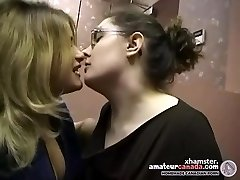 Two plump amateur lesbians make out and kissing in office