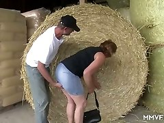 Kinky farmer lures chubby mature chick in glasses and fucks her in shed