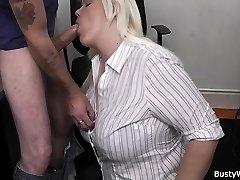 Hot blonde secretary office tear up