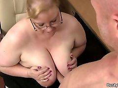 Plump phat boobs secretary rides boss cock