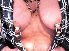 Mature Jiggles Heavily jeweled tits