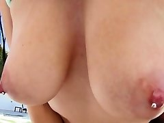 Katrina And Her Pierced Giant Bumpers Swallowing Meat