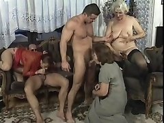 Wild Mature orgy in living room with big pink cigar studs