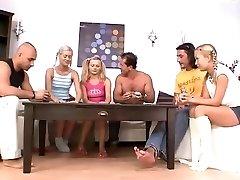 Towheaded busty nubiles in hard anal orgy
