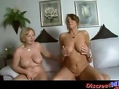 Two busty mummies in a threesome with one fortunate guy