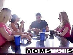 MomsTeachSex  Hot Mom & Teenie Friends Orgy Tear Up With Neighbor
