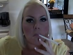 Hot Huge-titted Blonde MILF Smoking Solo