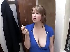 smoking girl down blouse large breast