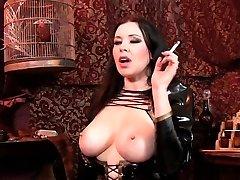 Smoking and showing big bra-stuffers