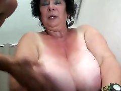 FRENCH Plumper 65YO Granny OLGA FUCKED BY 2 MEN - DP