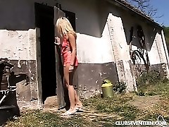 Blondie teen gets drilled in the barn