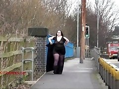 Fat Emmas public nudity and first-timer bbw demonstrating outdoors with brunette exh
