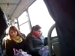 Flashing a big stiffy for a curious girl in the bus