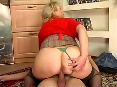 Russian huge-boobed maid pounded by young guy at home