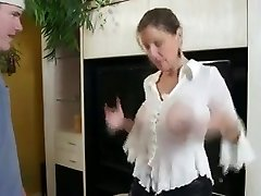 Buxomy Mom Shows Him Her Big Tits And Cock-squeezing Pussy