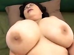 Japanese Mature with huge milk cans