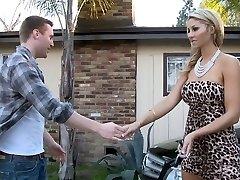 Natalie deep throating her dad's personal mechanic