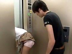Japanese Schoolgirl Pent Up on Elevator 3