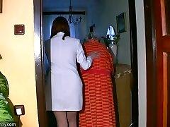 Bbw chubby Nurse masturbate with old Granny