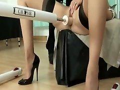 British milf using nail machine