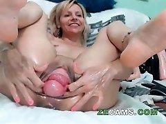 Blonde milf with big vulva