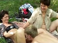 Mischievous russian picnic with ginormous b(.)(.)bs mature