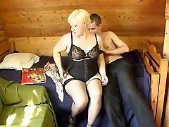 Russian boy fucking a bbw mature