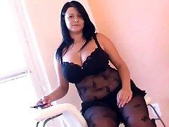 Fat girl in arousing black lingerie