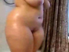 Hefty BBW Ex Girlfriend taking a Hot shower, nice Tits