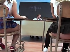 Two naughty schoolgirls have joy with their teacher